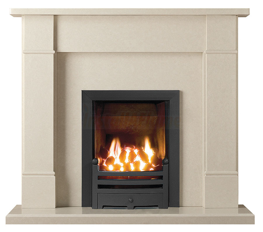 Rydal 48 perla marble fireplace with hotbox fire for Engineered fireplace