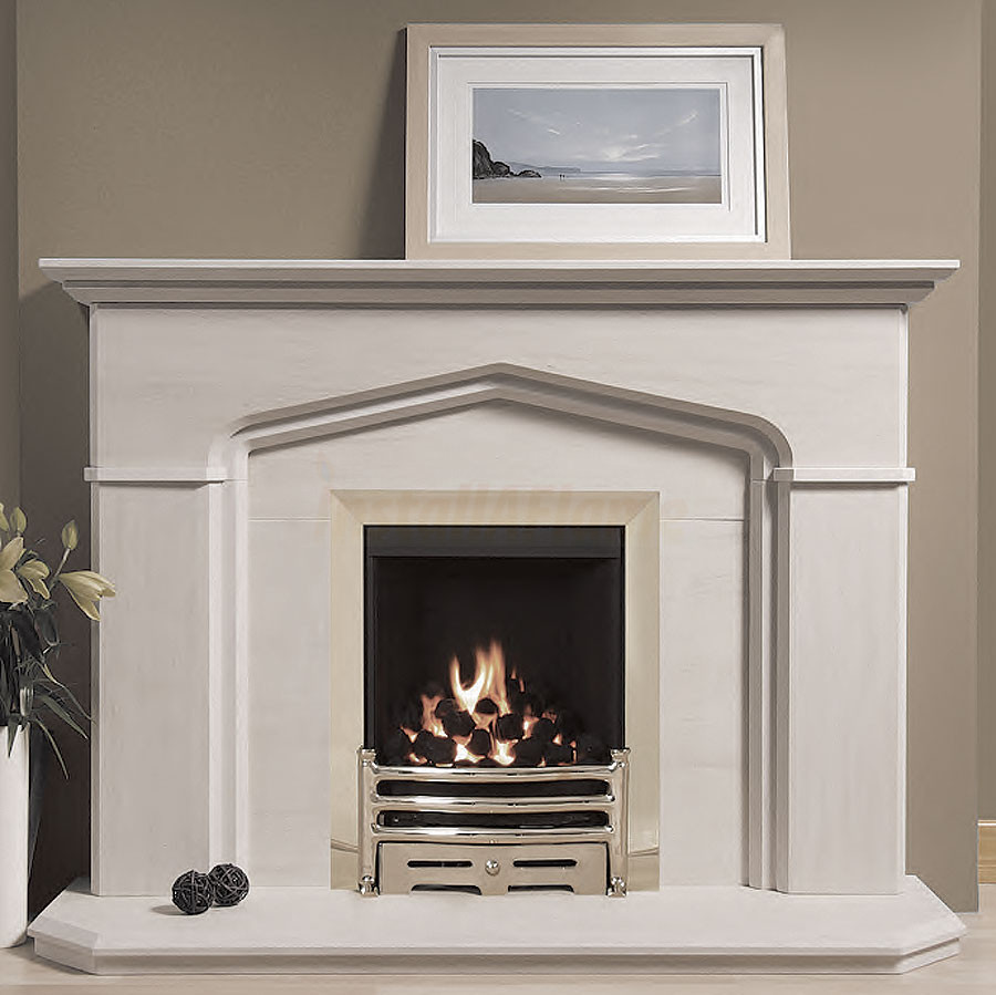 the windsor portuguese limestone fireplace