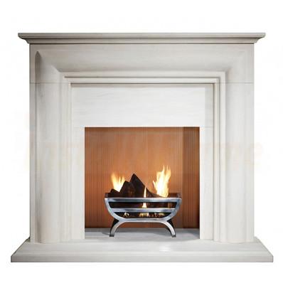 Ellerby 48 Fireplace in Limestone with Small Cradle Fire Basket.jpg