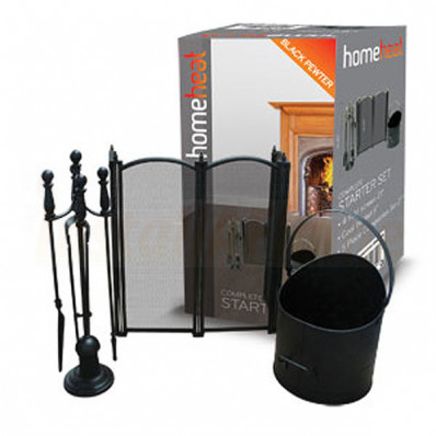 Fireside Starter Kit  c/w 4 Fold Firescreen In Black/Pewter.jpg