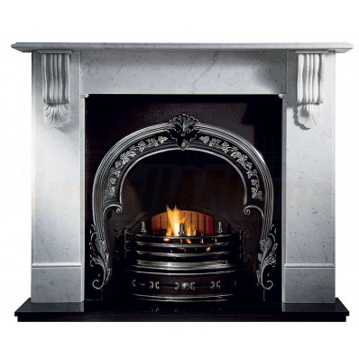 Kingston Carrara Marble Fireplace with Fitzwilliam Casting and Gas Fire.jpg