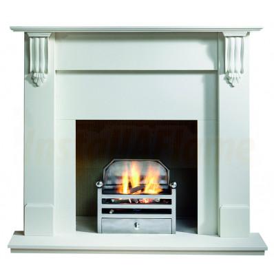 Richmond 54 Agean Limestone Mantel, Elan Gas Fire