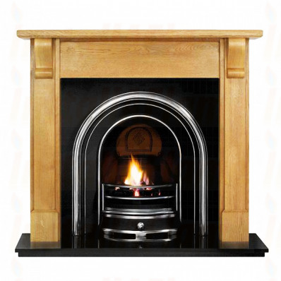Bedford Pine Mantel with Jubilee Arched Insert Fireplace.jpg