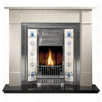 Brompton 51 Limestone Fireplace, Prince tiled insert and Gas Fire.jpg
