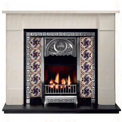 Brompton Agean Limestone Fireplace with Tulip Tiled Insert