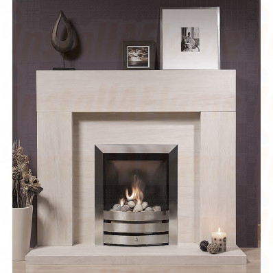 Chelsea Portuguese Limestone Fireplace, with it's timeless lines the Chelsea assures that it will blend happily with virtually any interior style
