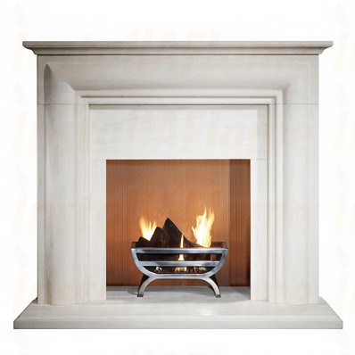 Ellerby 48 Fireplace in Limestone with Small Cradle Fire Basket.jpg