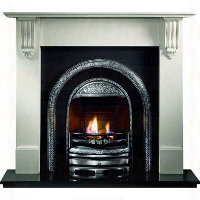 Richmond Agean Limestone Fireplace, Bolton Cast, PowerFlue fire.