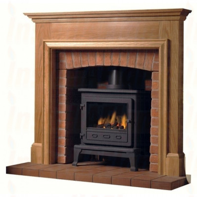 Firefox 8 Gas Stove with Oak Howard Mantel full Fireplace
