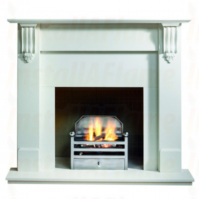 Richmond 54 Agean Limestone Mantel, Elan Gas Fire