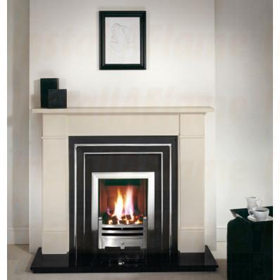 Brompton Agean limestone Fireplace, Hamilton Fascia with Hot-Box Fire.jpg
