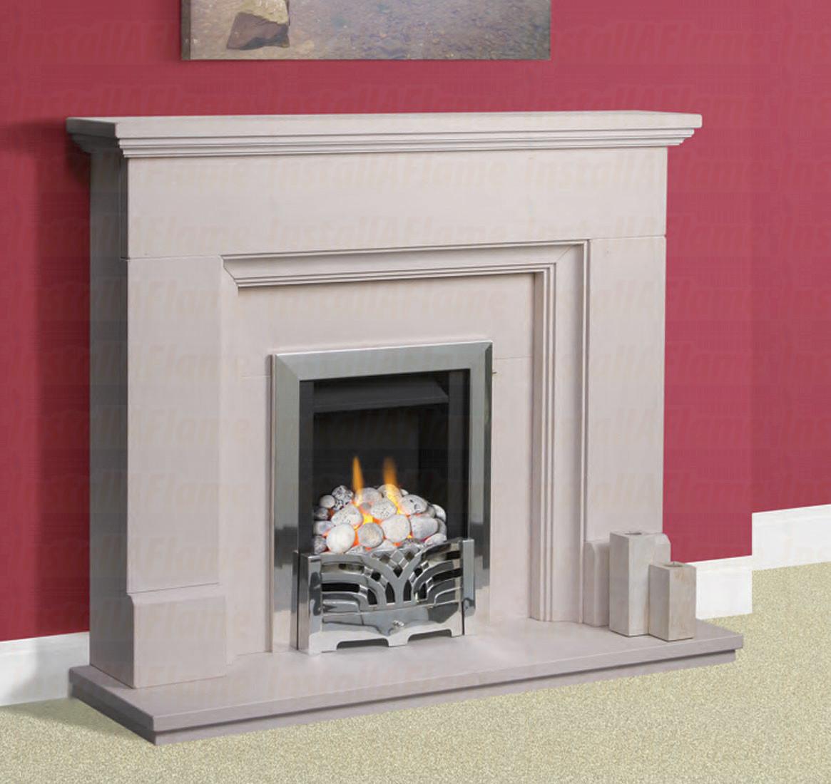 Penido Limestone Fireplace