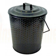 Basket Weave Metal Coal Tub & Lid