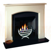 Woburn Agean Limestone Mantel with small cottage gas fire basket.jpg
