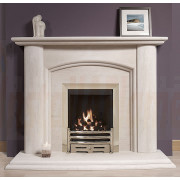 The Richmond Portuguese Limestone Fireplace is a popular traditional suite and features a bowed arch header and an impressive double waterfall hearth..jpg