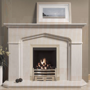 Windsor Portuguese Limestone Fireplace features impressive angled corners with bullnose profile a fireplace which would compliment any room.jpg