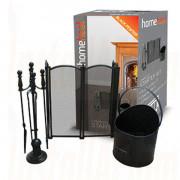 Fireside Starter Kit  c/w 4 Fold Firescreen In Black/Pewter.jpg
