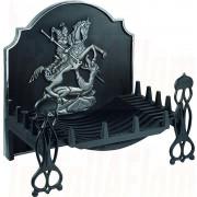 "Swans Nest Basket in Black finish 24"" with George & Draggon H/L Back Plate & Sentinel Black Dogs.jpg"