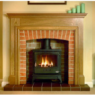 Oak Howard Fireplace Mantel (Solid) with Tiger Gas Stove.jpg