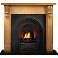 Grand Corbel Pine mantel with Crown insert Fireplace.jpg
