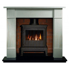 Firefox 8 Gas Fireplace with Rydal Mantel in Portuguese Limestone