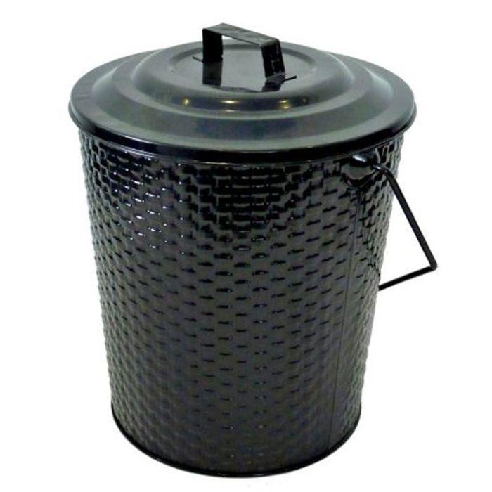 Basket Weave Metal Coal Tub & Lid