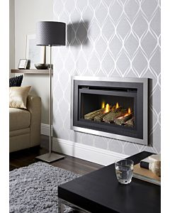 Florida Gas fire, Black trim,Brushed outer, Logs